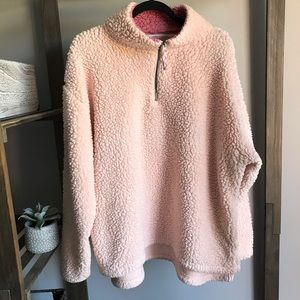 So Light Pink Sherpa Half Zip